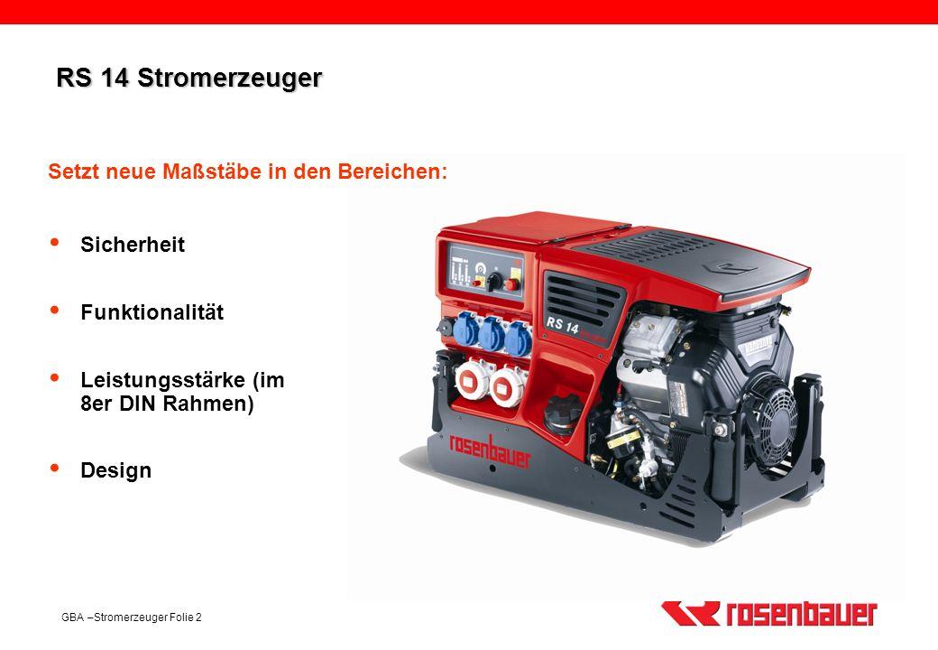 GBA –Stromerzeuger Folie 2 RS 14 Stromerzeuger Sicherheit Funktionalität Leistungsstärke (im 8er DIN Rahmen) Design Setzt neue Maßstäbe in den Bereich