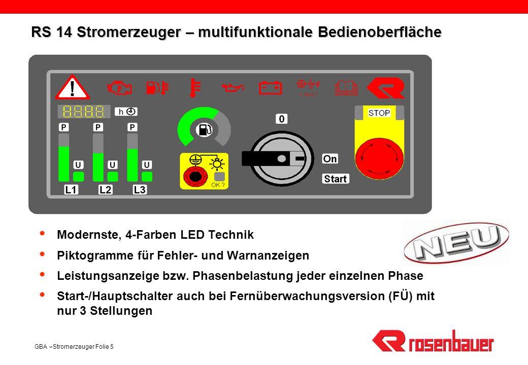 GBA –Stromerzeuger Folie 5 RS 14 Stromerzeuger – multifunktionale Bedienoberfläche Modernste, 4-Farben LED Technik Piktogramme für Fehler- und Warnanz