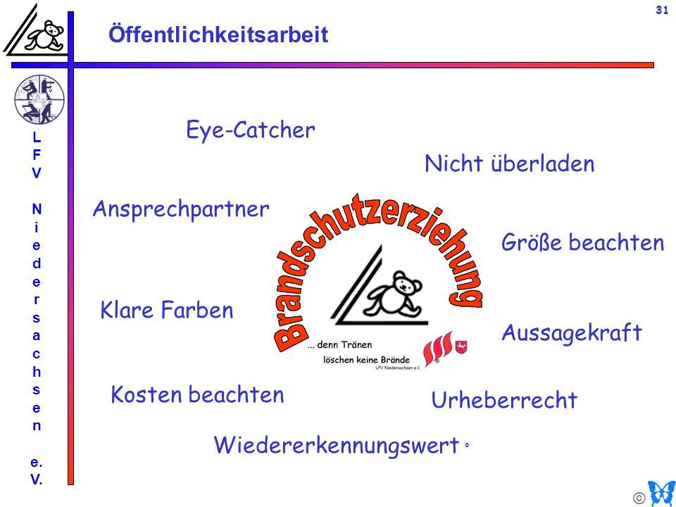 © Öffentlichkeitsarbeit L F V N i e d e r s a c h s e n e. V. 31 Eye-Catcher Nicht überladen Klare Farben Kosten beachten Urheberrecht Größe beachten