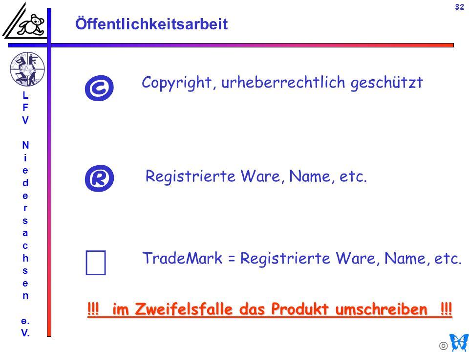 © Öffentlichkeitsarbeit L F V N i e d e r s a c h s e n e. V. 32 © ® Copyright, urheberrechtlich geschützt Registrierte Ware, Name, etc. TradeMark = R