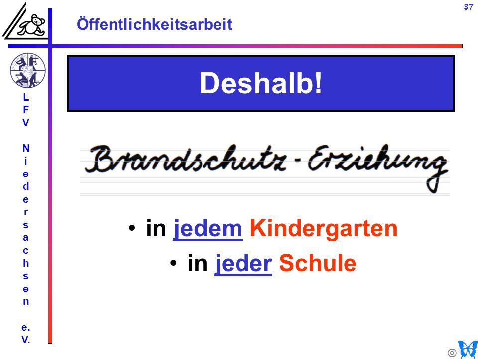 © Öffentlichkeitsarbeit L F V N i e d e r s a c h s e n e. V. 37 in jedem Kindergarten in jeder Schule Deshalb!
