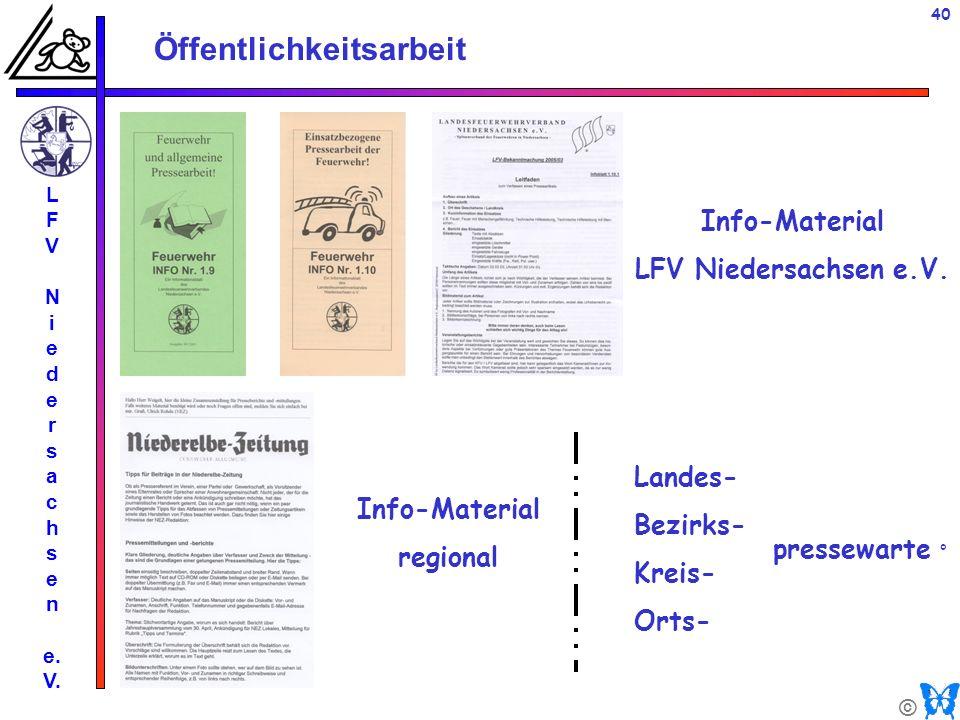 © Öffentlichkeitsarbeit L F V N i e d e r s a c h s e n e. V. 40 Info-Material LFV Niedersachsen e.V. Info-Material regional Landes- Bezirks- Kreis- O