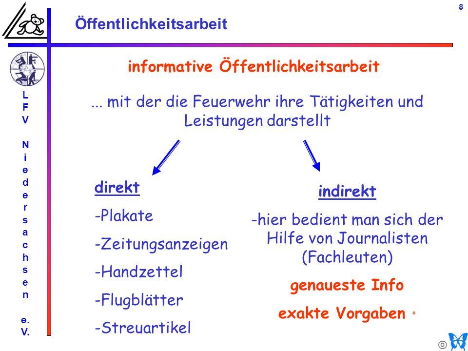 © Öffentlichkeitsarbeit L F V N i e d e r s a c h s e n e. V. 8 informative Öffentlichkeitsarbeit direkt -Plakate -Zeitungsanzeigen -Handzettel -Flugb