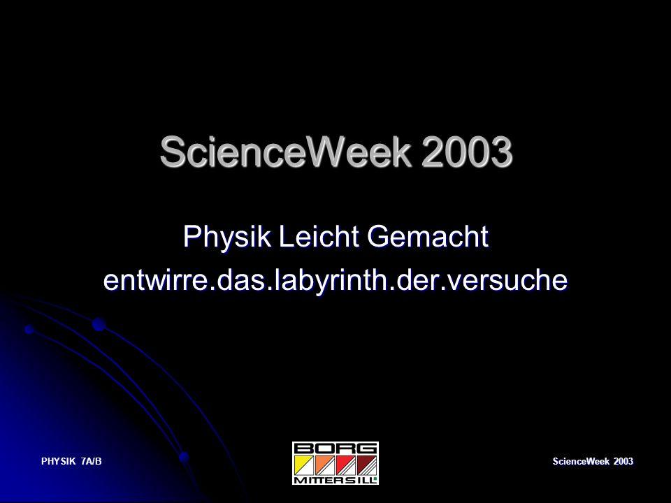 ScienceWeek 2003 PHYSIK 7A/B ScienceWeek 2003 Physik Leicht Gemacht entwirre.das.labyrinth.der.versuche