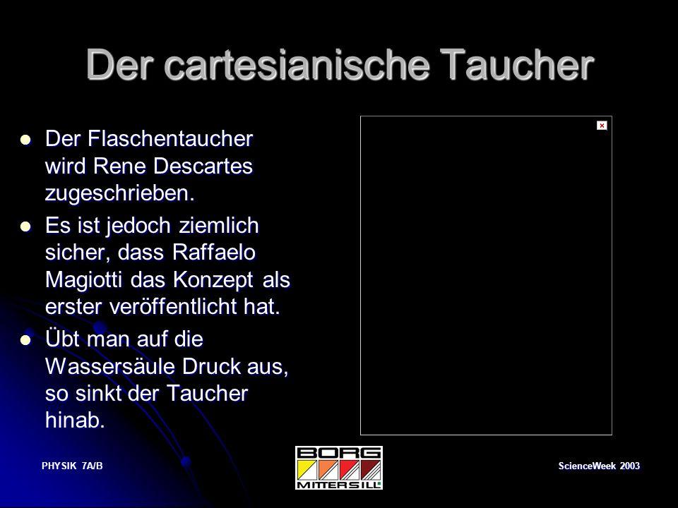ScienceWeek 2003 PHYSIK 7A/B Der cartesianische Taucher Der Flaschentaucher wird Rene Descartes zugeschrieben. Der Flaschentaucher wird Rene Descartes