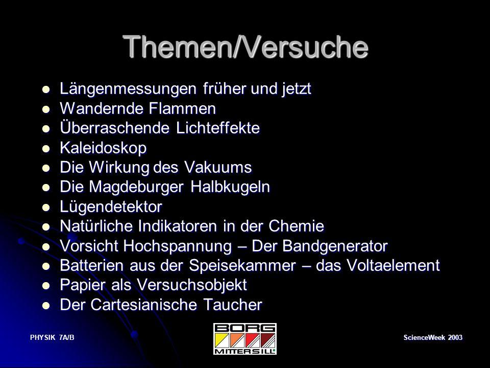 ScienceWeek 2003 PHYSIK 7A/B Papier als Versuchsobjekt Dass Papier normalerweise keine gute Tragfähigkeit besitzt ist jedem bekannt.