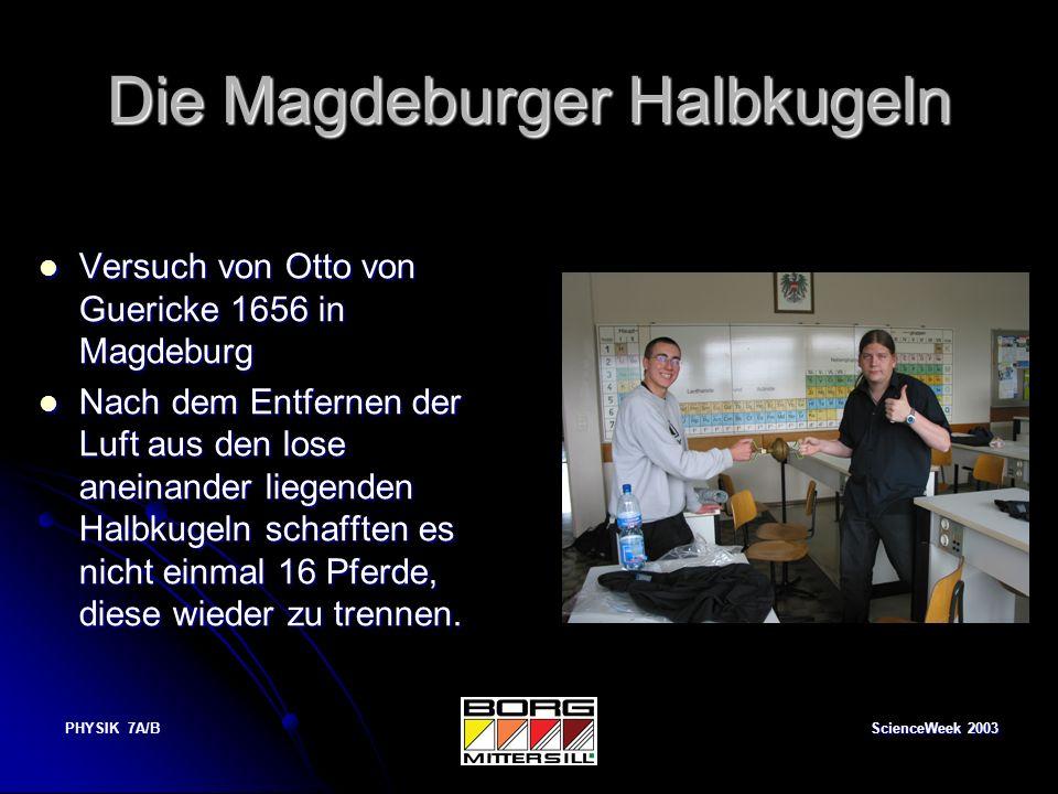 ScienceWeek 2003 PHYSIK 7A/B Lügendetektor Mit dieser Schaltung wird die Stromleitfähigkeit eines Menschen getestet.