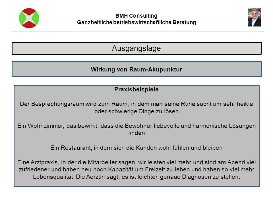 BMH Consulting Ganzheitliche betriebswirtschaftliche Beratung Raumakupunktur empfiehlt sich bei Raum-Akupunktur Anwendungen Optimierung von benutzten Räumlichkeiten Bezug von neuen Räumlichkeiten Umnutzungen von Räumlichkeiten Neubauten