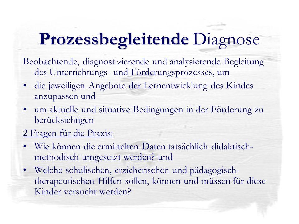 Prozessbegleitende Prozessbegleitende Diagnose Beobachtende, diagnostizierende und analysierende Begleitung des Unterrichtungs- und Förderungsprozesse
