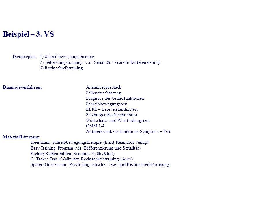 Beispiel – 3. VS Therapieplan: 1) Schreibbewegungstherapie 2) Teilleistungstraining: v.a.: Serialität ! visuelle Differenzierung 3) Rechtschreibtraini