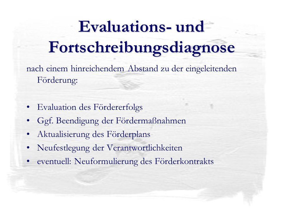Evaluations- und Fortschreibungsdiagnose nach einem hinreichendem Abstand zu der eingeleitenden Förderung: Evaluation des Fördererfolgs Ggf. Beendigun