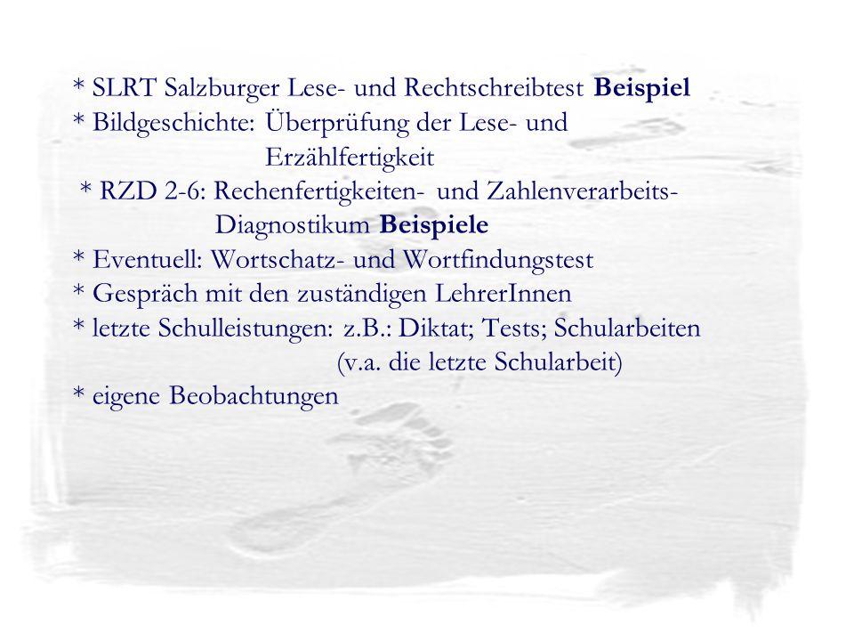 * * * * * * * SLRT Salzburger Lese- und Rechtschreibtest Beispiel * Bildgeschichte: Überprüfung der Lese- und Erzählfertigkeit * RZD 2-6: Rechenfertig