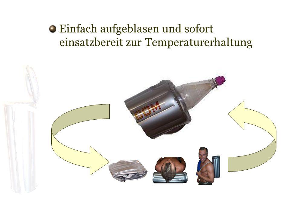 Einfach aufgeblasen und sofort einsatzbereit zur Temperaturerhaltung