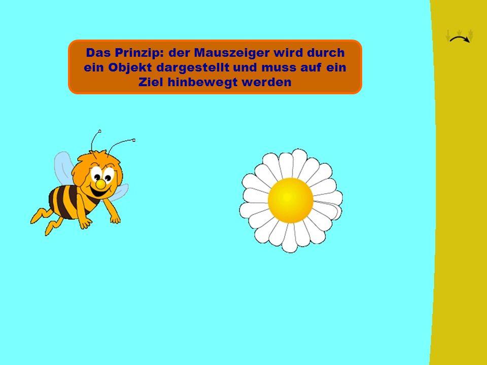 Das Prinzip: der Mauszeiger wird durch ein Objekt dargestellt und muss auf ein Ziel hinbewegt werden