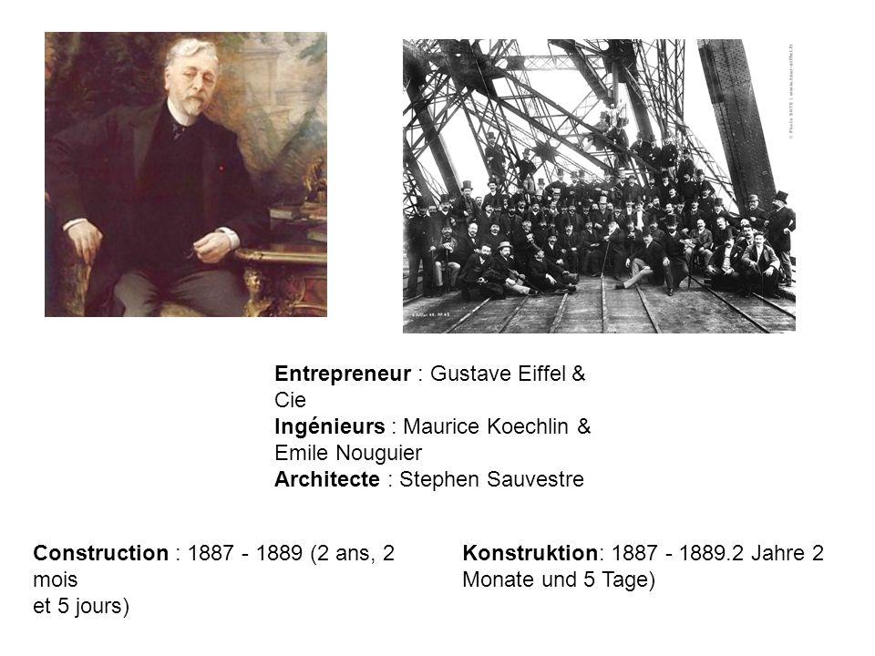 Entrepreneur : Gustave Eiffel & Cie Ingénieurs : Maurice Koechlin & Emile Nouguier Architecte : Stephen Sauvestre Construction : 1887 - 1889 (2 ans, 2 mois et 5 jours) Konstruktion: 1887 - 1889.2 Jahre 2 Monate und 5 Tage)