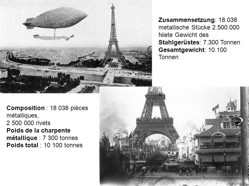 Entrepreneur : Gustave Eiffel & Cie Ingénieurs : Maurice Koechlin & Emile Nouguier Architecte : Stephen Sauvestre Construction : 1887 - 1889 (2 ans, 2