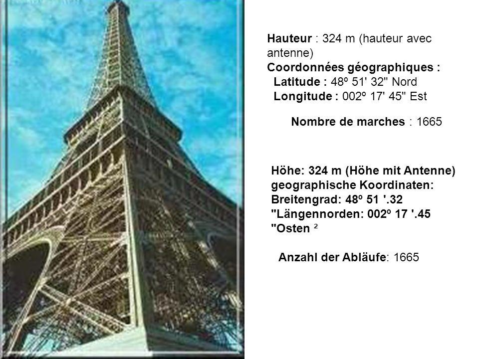 Composition : 18 038 pièces métalliques, 2 500 000 rivets Poids de la charpente métallique : 7 300 tonnes Poids total : 10 100 tonnes Zusammensetzung: