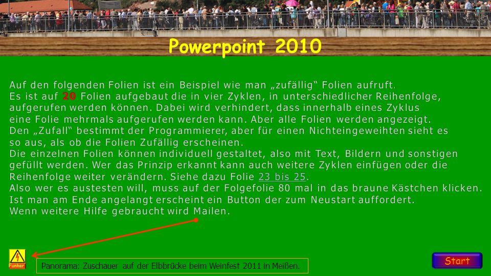 Powerpoint 2010 Start Funker Panorama: Zuschauer auf der Elbbrücke beim Weinfest 2011 in Meißen.