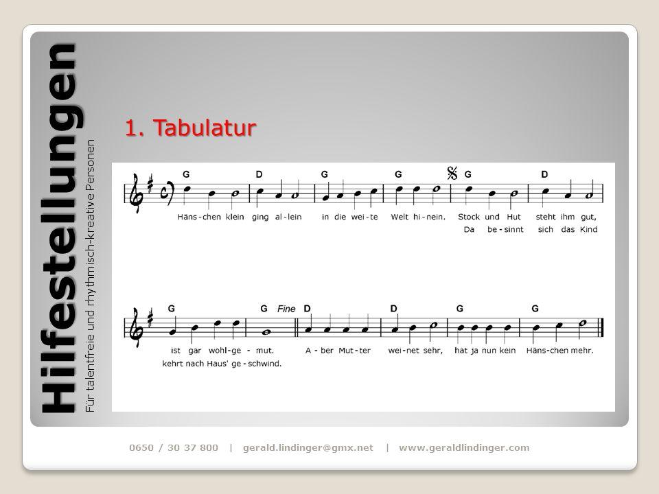 Hilfestellungen Für talentfreie und rhythmisch-kreative Personen 0650 / 30 37 800 | gerald.lindinger@gmx.net | www.geraldlindinger.com 1. Tabulatur