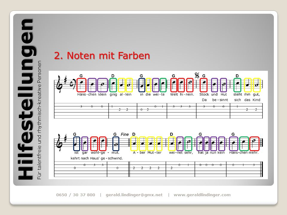 Hilfestellungen Für talentfreie und rhythmisch-kreative Personen 0650 / 30 37 800 | gerald.lindinger@gmx.net | www.geraldlindinger.com 2. Noten mit Fa