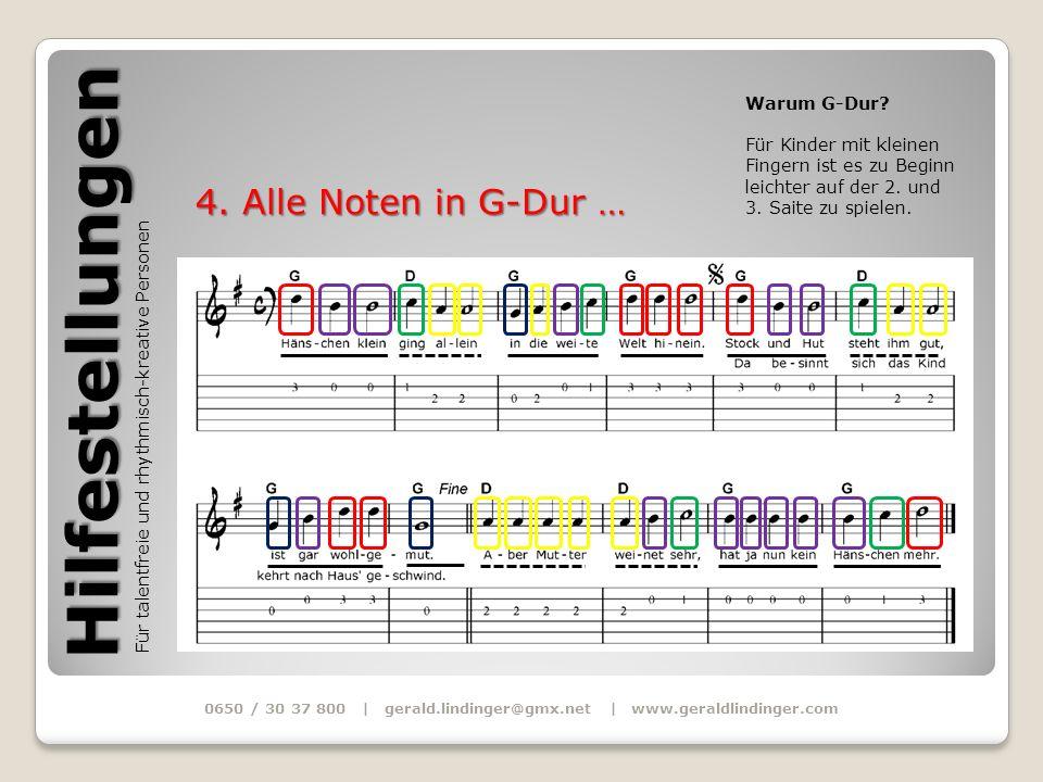 Hilfestellungen Für talentfreie und rhythmisch-kreative Personen 0650 / 30 37 800 | gerald.lindinger@gmx.net | www.geraldlindinger.com 4. Alle Noten i