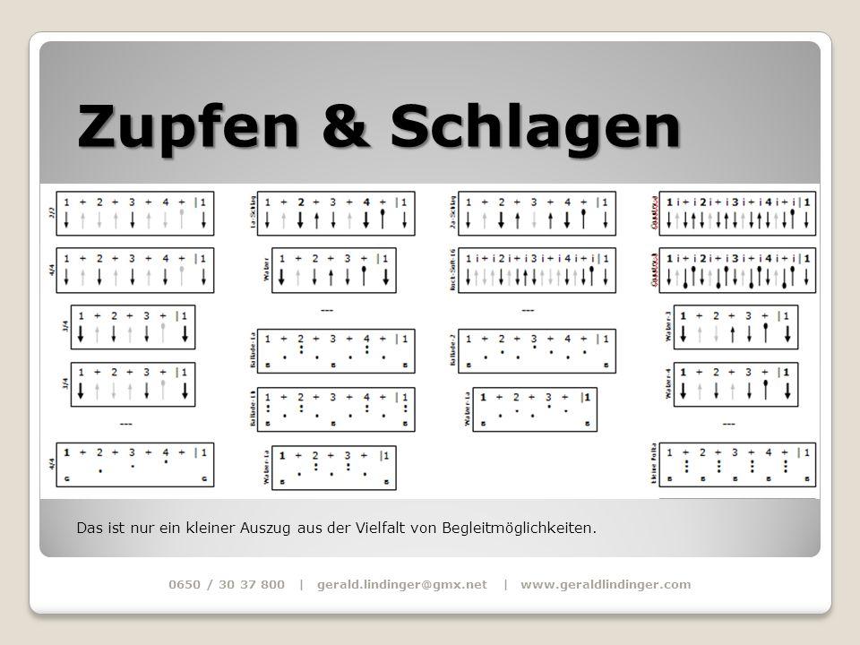 Zupfen & Schlagen 0650 / 30 37 800 | gerald.lindinger@gmx.net | www.geraldlindinger.com Das ist nur ein kleiner Auszug aus der Vielfalt von Begleitmög