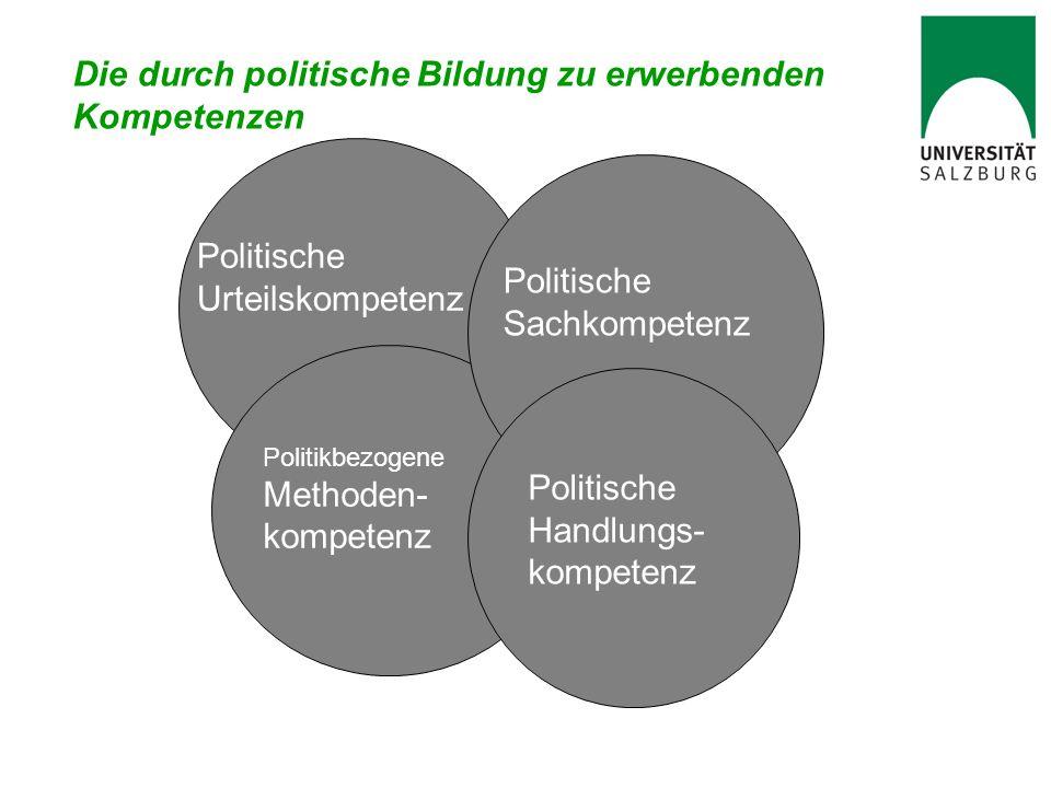 Die durch politische Bildung zu erwerbenden Kompetenzen Politische Urteilskompetenz Politische Handlung- kompetenz Politische Sachkompetenz Politische