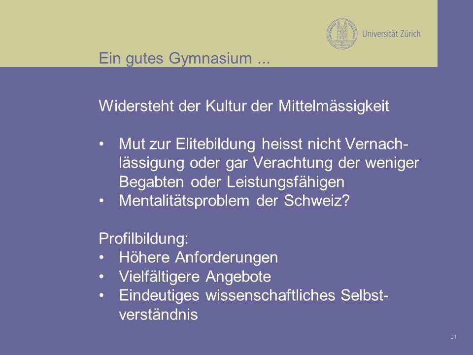 21 Ein gutes Gymnasium...
