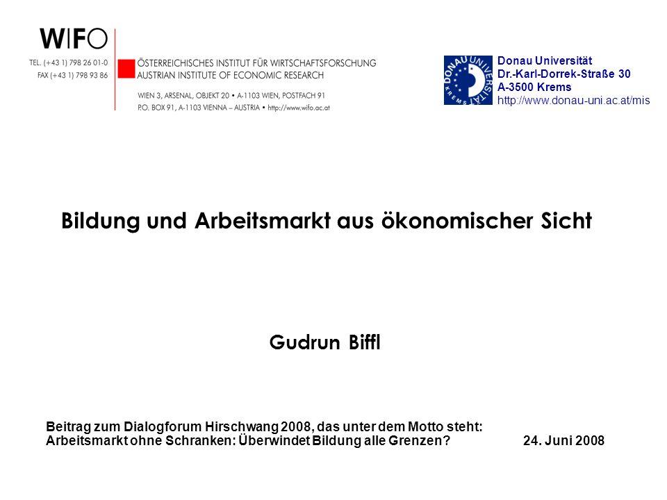 Gudrun Biffl Beitrag zum Dialogforum Hirschwang 2008, das unter dem Motto steht: Arbeitsmarkt ohne Schranken: Überwindet Bildung alle Grenzen? 24. Jun
