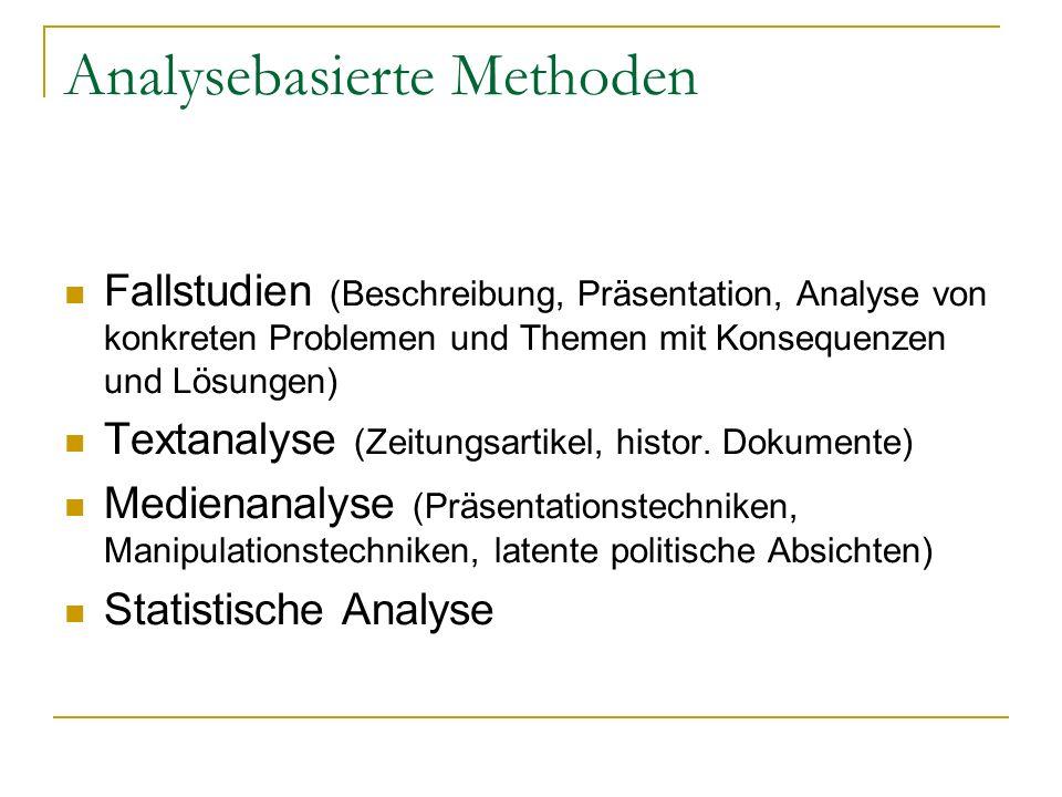 Analysebasierte Methoden Fallstudien (Beschreibung, Präsentation, Analyse von konkreten Problemen und Themen mit Konsequenzen und Lösungen) Textanalyse (Zeitungsartikel, histor.