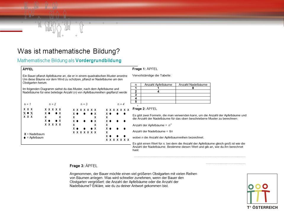Was ist mathematische Bildung? Mathematische Bildung als Vordergrundbildung