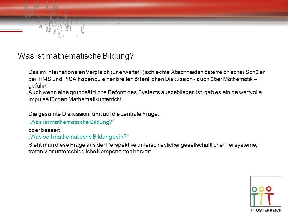 Was ist mathematische Bildung? Das im internationalen Vergleich (unerwartet?) schlechte Abschneiden österreichischer Schüler bei TIMS und PISA haben z