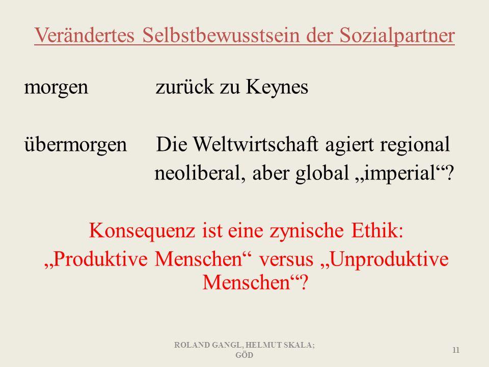 Verändertes Selbstbewusstsein der Sozialpartner morgen zurück zu Keynes übermorgen Die Weltwirtschaft agiert regional neoliberal, aber global imperial