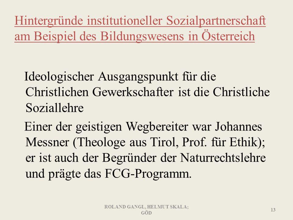 Hintergründe institutioneller Sozialpartnerschaft am Beispiel des Bildungswesens in Österreich Ideologischer Ausgangspunkt für die Christlichen Gewerk