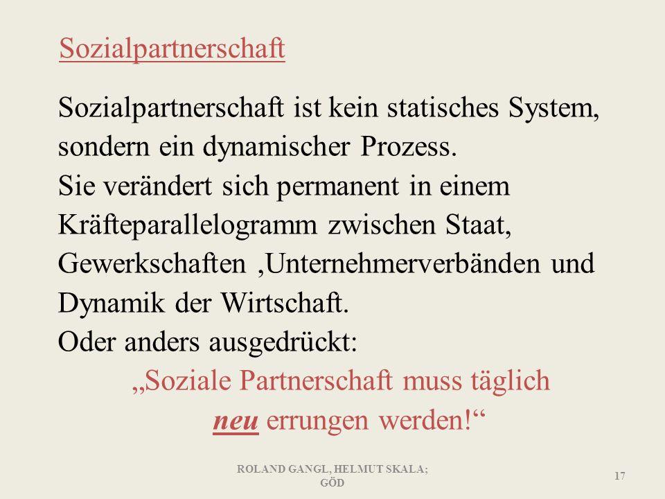 Sozialpartnerschaft Sozialpartnerschaft ist kein statisches System, sondern ein dynamischer Prozess. Sie verändert sich permanent in einem Kräfteparal