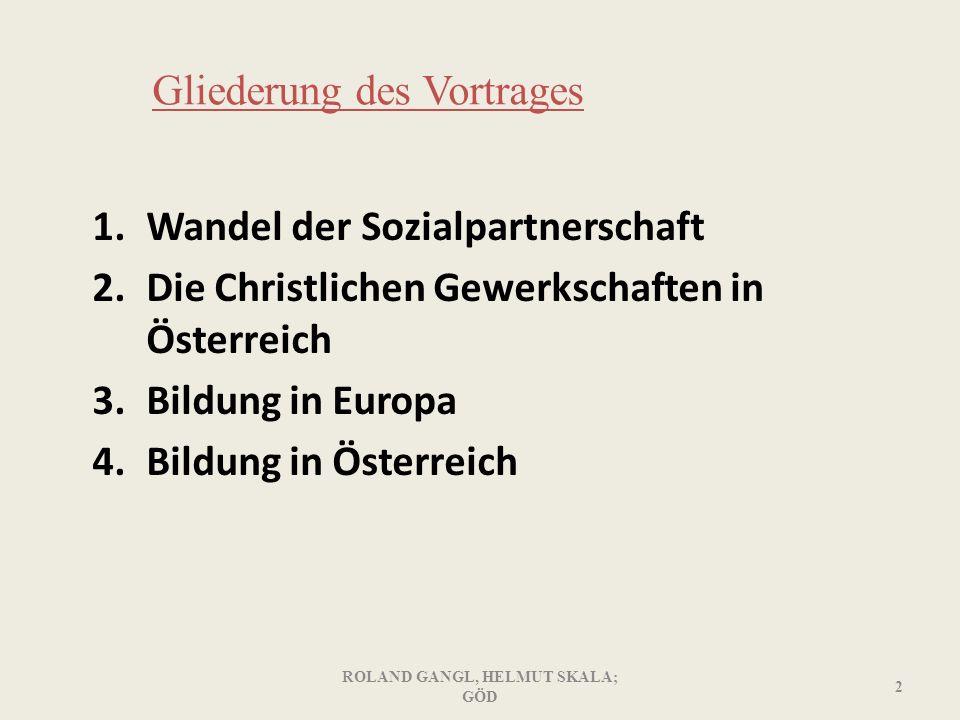 Gliederung des Vortrages 1.Wandel der Sozialpartnerschaft 2.Die Christlichen Gewerkschaften in Österreich 3.Bildung in Europa 4.Bildung in Österreich