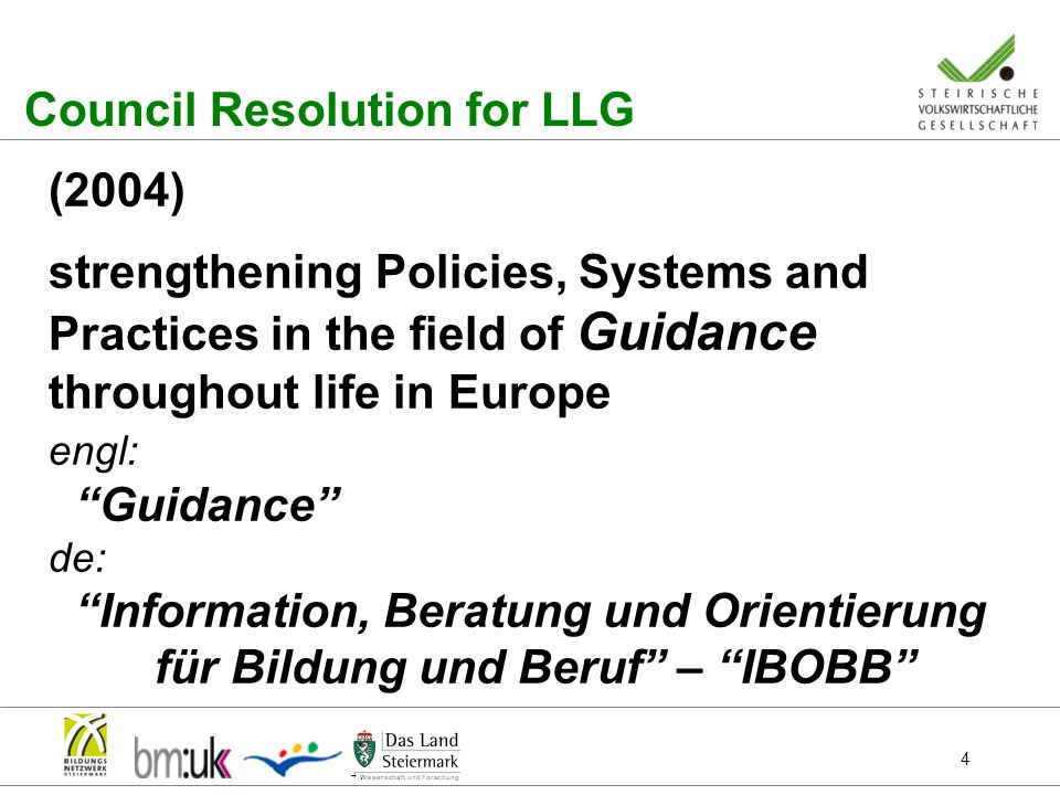 4 Council Resolution for LLG (2004) strengthening Policies, Systems and Practices in the field of Guidance throughout life in Europe engl: Guidance de