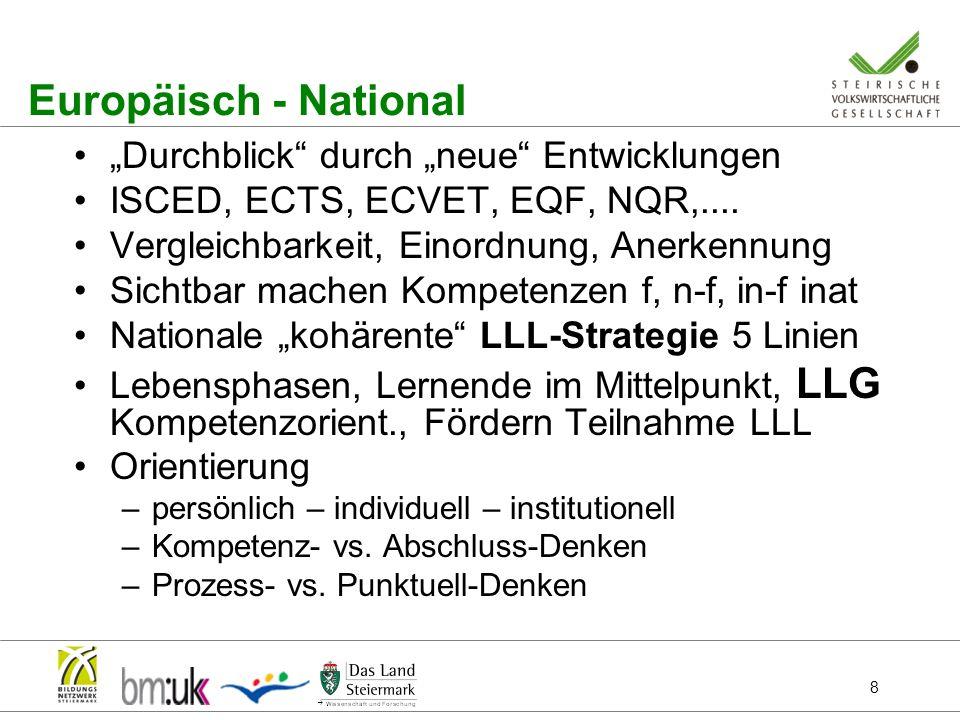 8 Europäisch - National Durchblick durch neue Entwicklungen ISCED, ECTS, ECVET, EQF, NQR,.... Vergleichbarkeit, Einordnung, Anerkennung Sichtbar mache