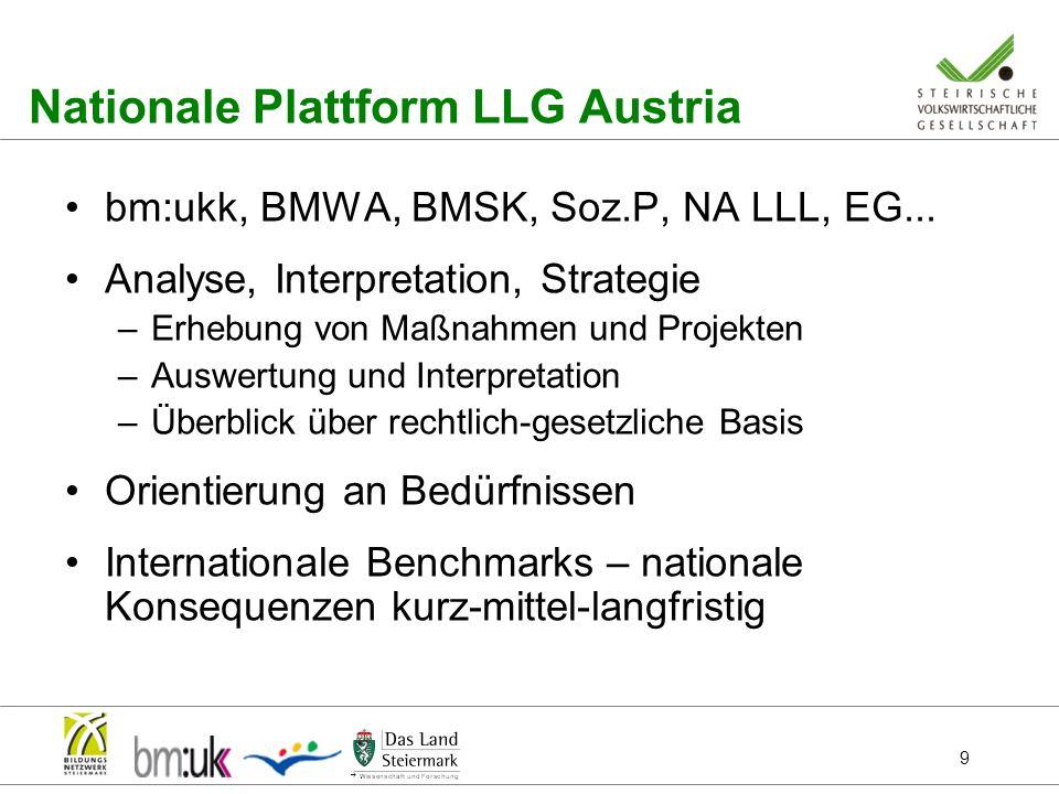 9 Nationale Plattform LLG Austria bm:ukk, BMWA, BMSK, Soz.P, NA LLL, EG... Analyse, Interpretation, Strategie –Erhebung von Maßnahmen und Projekten –A