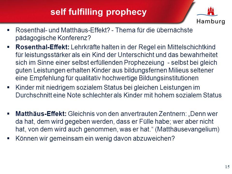 self fulfilling prophecy Rosenthal- und Matthäus-Effekt? - Thema für die übernächste pädagogische Konferenz? Rosenthal-Effekt: Lehrkräfte halten in de