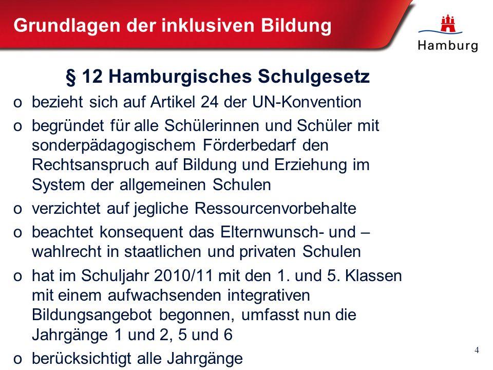 4 Grundlagen der inklusiven Bildung § 12 Hamburgisches Schulgesetz obezieht sich auf Artikel 24 der UN-Konvention obegründet für alle Schülerinnen und