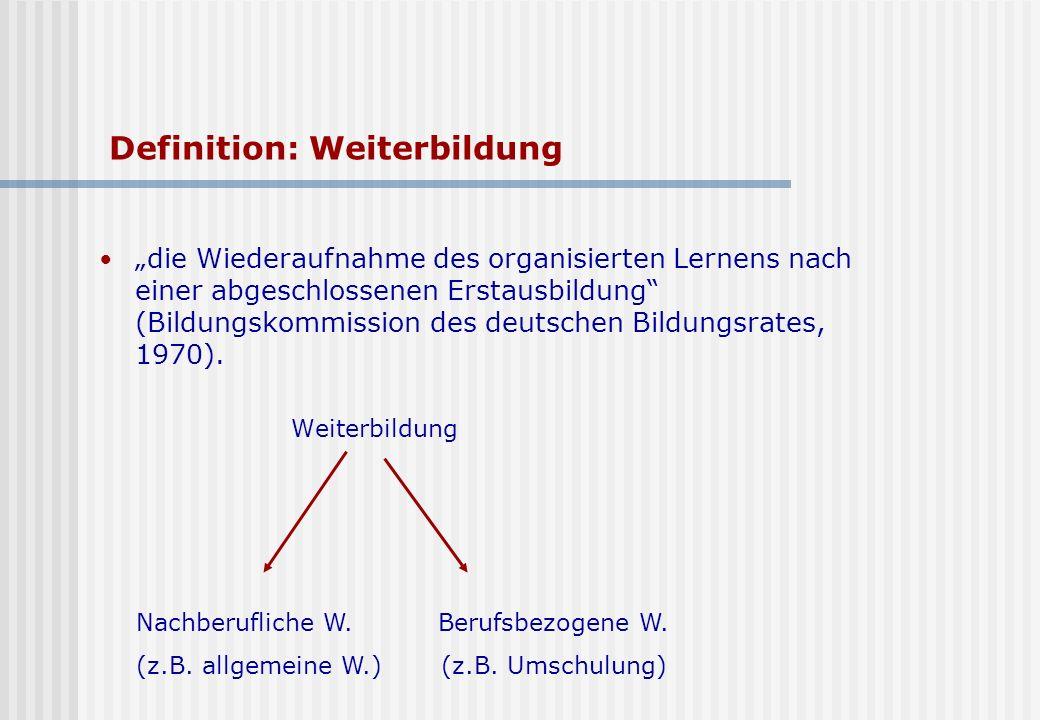 Definition: Weiterbildung die Wiederaufnahme des organisierten Lernens nach einer abgeschlossenen Erstausbildung (Bildungskommission des deutschen Bildungsrates, 1970).
