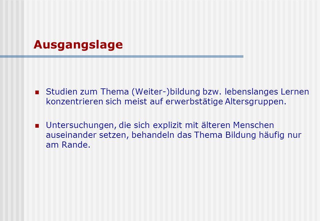 Ausgangslage Studien zum Thema (Weiter-)bildung bzw.