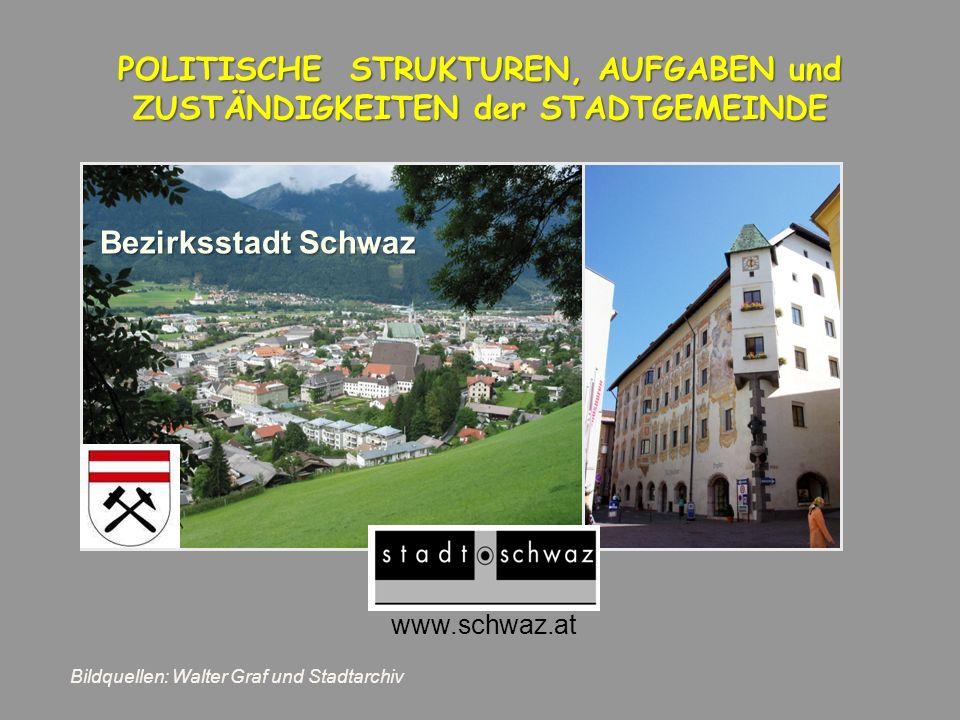 www.schwaz.at POLITISCHE STRUKTUREN, AUFGABEN und ZUSTÄNDIGKEITEN der STADTGEMEINDE Bezirksstadt Schwaz Bildquellen: Walter Graf und Stadtarchiv