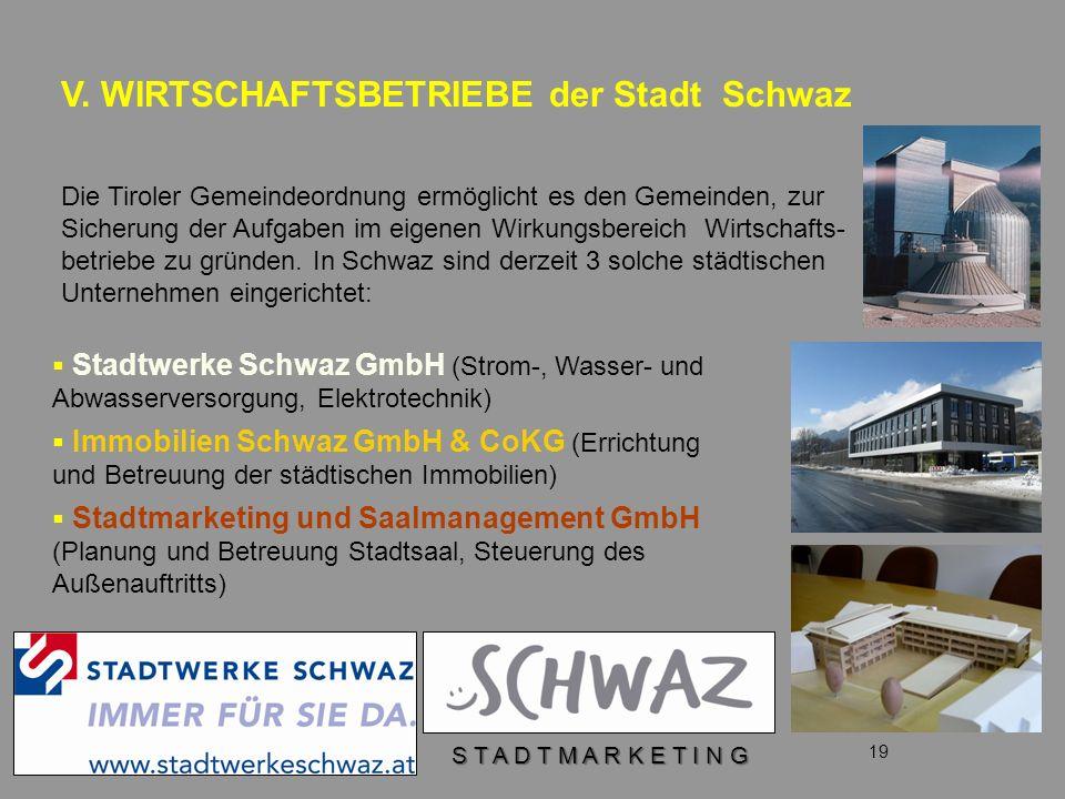 V. WIRTSCHAFTSBETRIEBE der Stadt Schwaz 19 Die Tiroler Gemeindeordnung ermöglicht es den Gemeinden, zur Sicherung der Aufgaben im eigenen Wirkungsbere