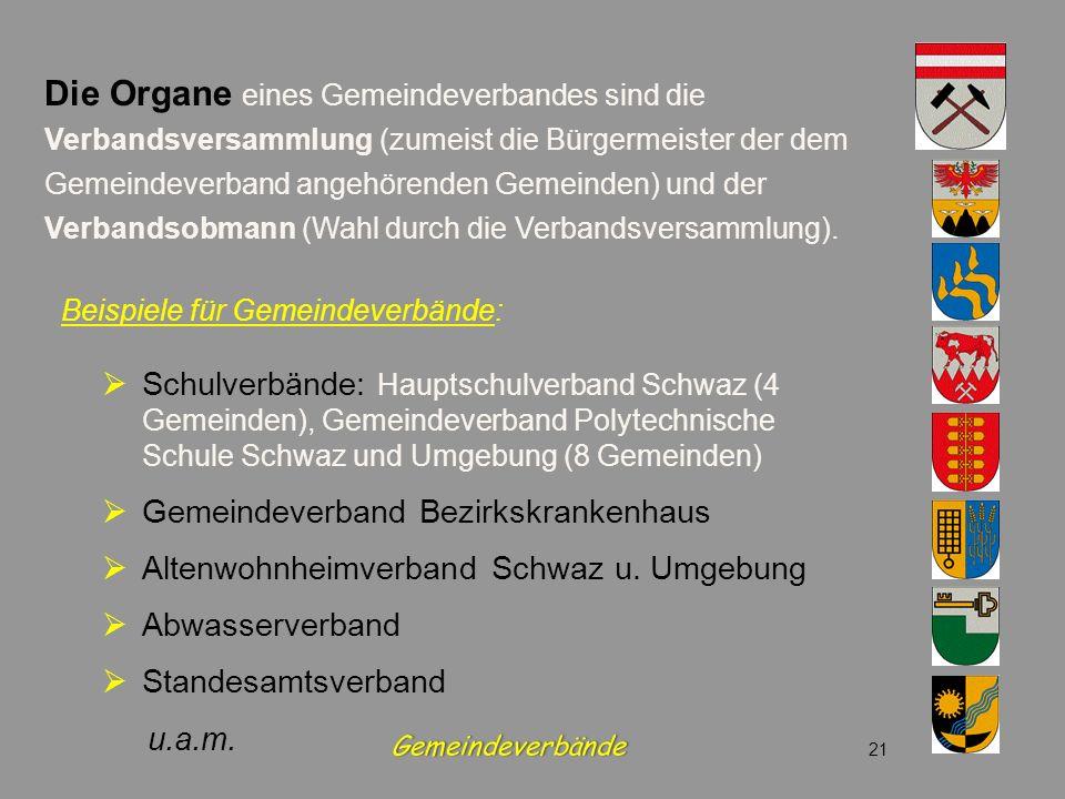 Beispiele für Gemeindeverbände: Schulverbände: Hauptschulverband Schwaz (4 Gemeinden), Gemeindeverband Polytechnische Schule Schwaz und Umgebung (8 Ge