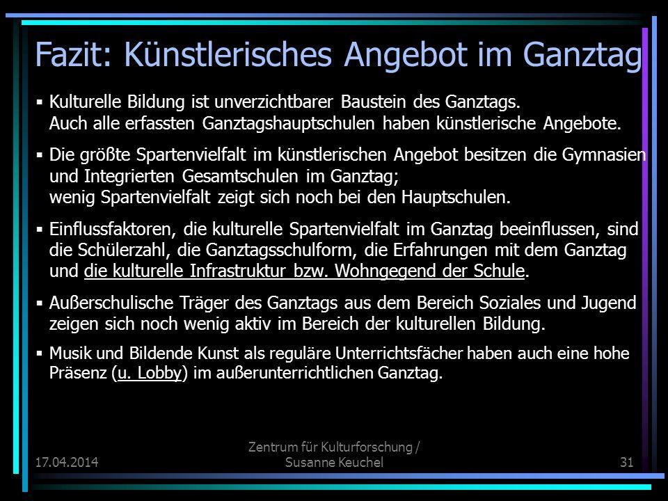 17.04.2014 Zentrum für Kulturforschung / Susanne Keuchel31 Kulturelle Bildung ist unverzichtbarer Baustein des Ganztags.