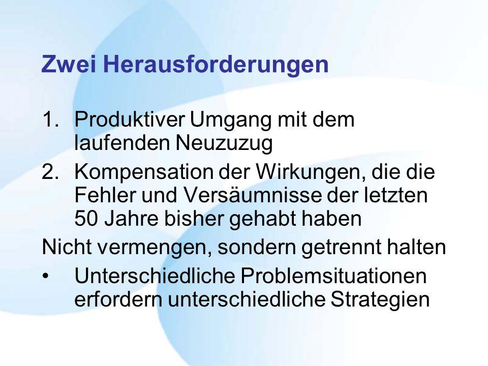 Zwei Herausforderungen 1.Produktiver Umgang mit dem laufenden Neuzuzug 2.Kompensation der Wirkungen, die die Fehler und Versäumnisse der letzten 50 Ja