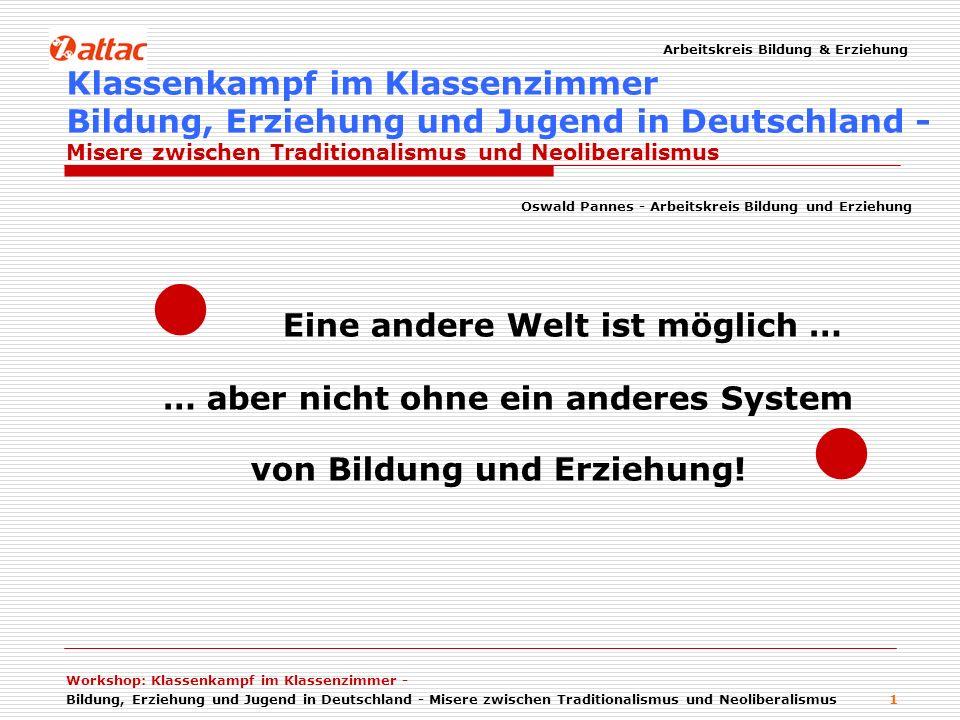 Arbeitskreis Bildung & Erziehung Workshop: Klassenkampf im Klassenzimmer - Bildung, Erziehung und Jugend in Deutschland - Misere zwischen Traditionalismus und Neoliberalismus 12 * Bildungsausgaben nach Schulformen