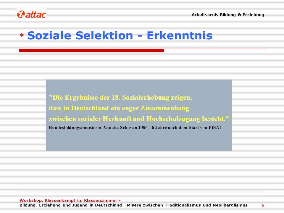 Workshop: Klassenkampf im Klassenzimmer - Bildung, Erziehung und Jugend in Deutschland - Misere zwischen Traditionalismus und Neoliberalismus 7 Eine wesentliche Grundkomponente der Selektivität ist die Mittel- und Oberschichtorientierung von Kindergärten und Schulen.